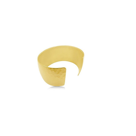 Wide Hammered Gold Cuff Bracelet 24K Heavy Gold-Plated
