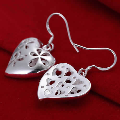 Flat Silver Heart Earrings
