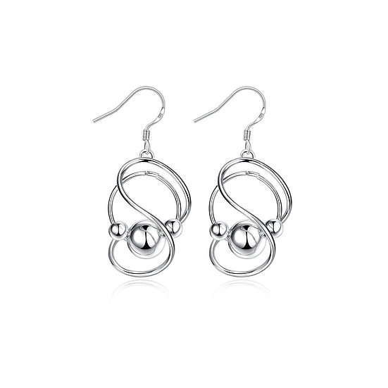 Silver Abstract Curved Circular Drop Earring