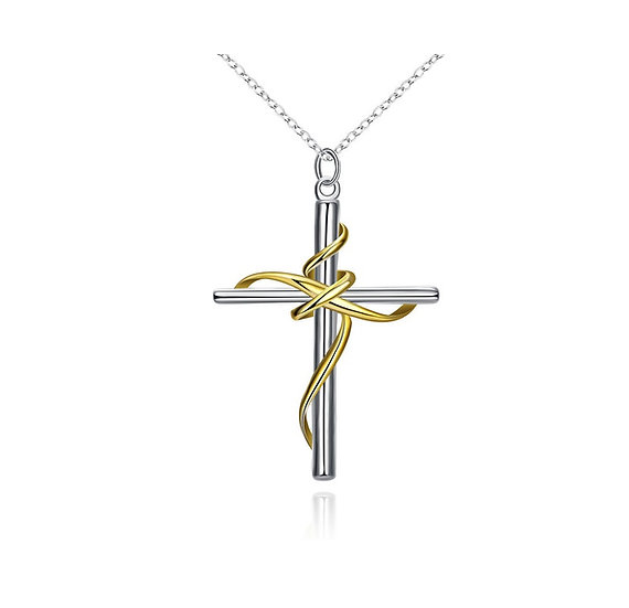 925 Fine Necklace Silver Pendant Separations Twisted Rope Cross