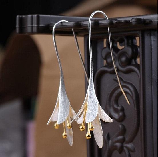 925 Silver Flower Drop Earrings