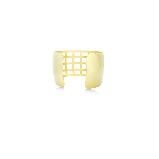 Geometric Gold Filigree Cuff Bracelet 24K Heavy Gold-Plated