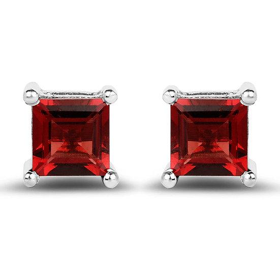 925 Sterling Silver Ruby Red Earrings