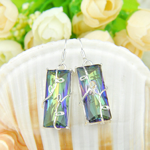 Silver Plated Fire-Mystic-Topaz-Earrings