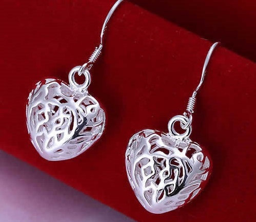 Silver Laser Cut Heart Shaped Drop Earring