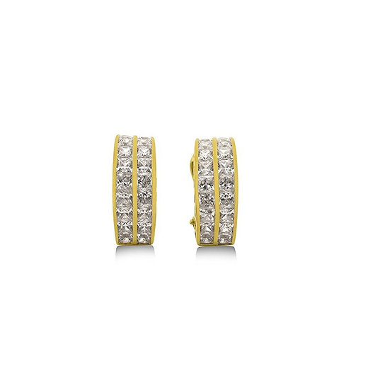 2 Row Channel Set ZC Earrings Premium 24K Vermeil
