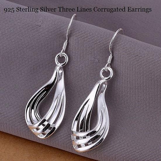 Three Lines Hoop Earrings