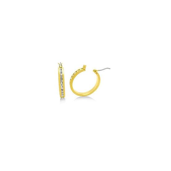 Channel Set Crystal & Gold 1 Inch Hoop Earrings
