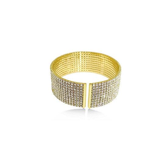 Austrian Crystal & Gold Open Cuff Bracelet - 24K Heavy Gold-Plated
