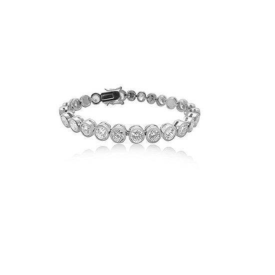 CZ Crystal Tennis Bracelet - Bezel Set Premium Heavy Rhodium