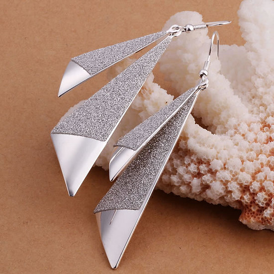 Sail Shaped Earrings Silver Plated