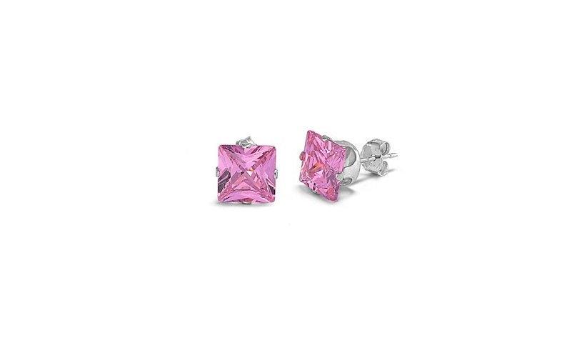 Sterling Silver Pink Sapphire Stud Earring