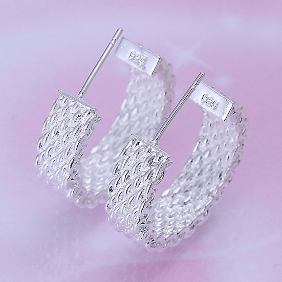 Cable Link Half Hoop Earrings