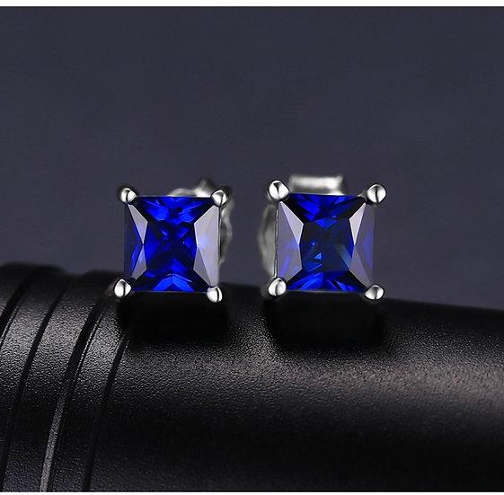 925 Sterling Silver Blue Sapphire Earrings
