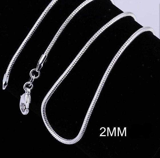 "2MM Snake Chain-16"" 18"" 20"" 22"" 24"" 26"" 28"" 30"""