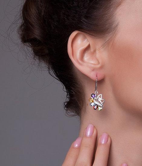 Genuine Amethyst Citrine Garnet Peridot Sky Blue Topaz Drop Earrings