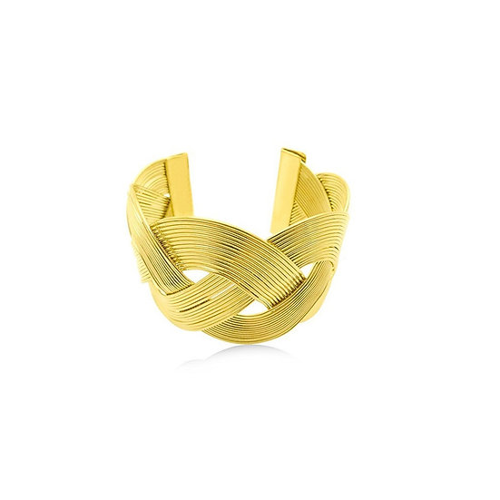 Woven Gold Cuff Bracelet - Premium 24K Heavy Gold-Plated