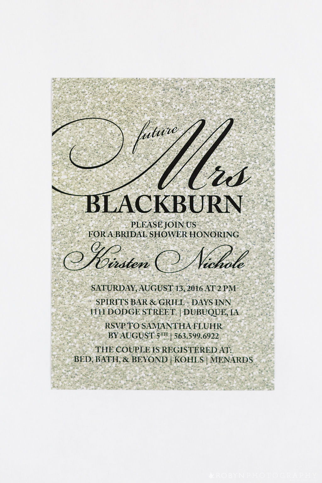 Glitter Gold Shower Invitation