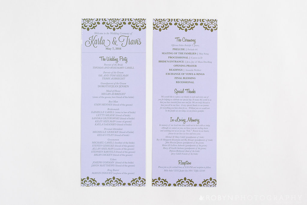 Gold Purple Wedding Ceremony Program