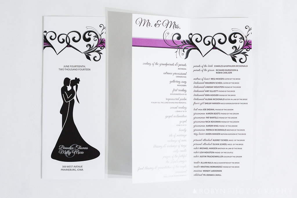 Dual Hearts Wedding Ceremony Program