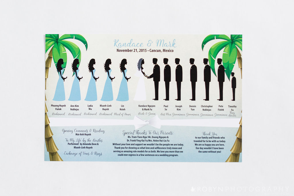 Silhouette Wedding Program Beach