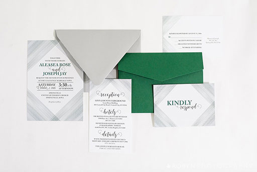 Green Lines Invitation Suite