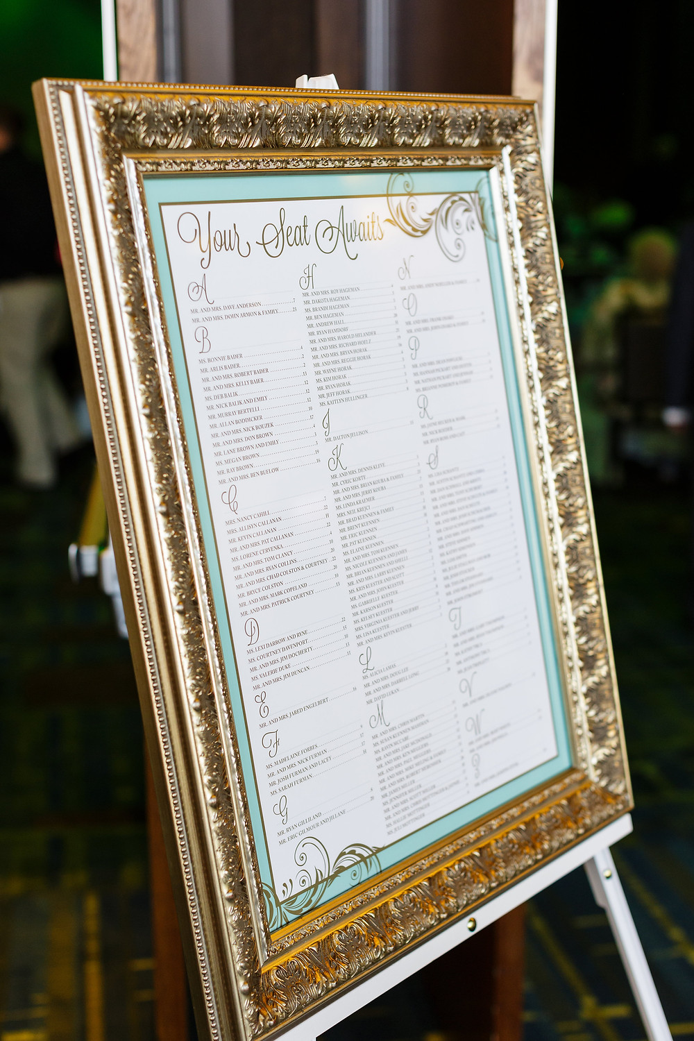 Wedding Seating Chart, mint green and gold wedding, Doubletree cedar rapids wedding, iowa wedding, invitation suite