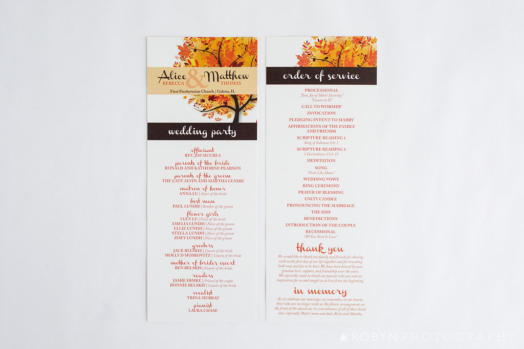 Adoring Autumn Ceremony Program