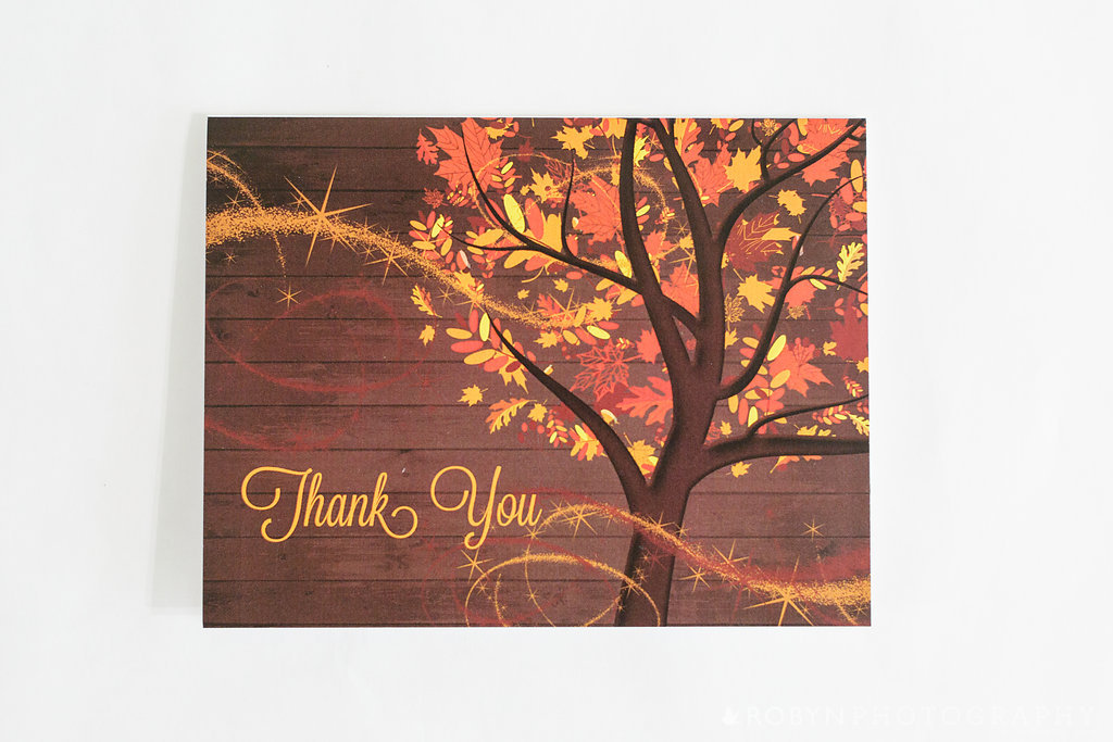 Windy Day Fall Thank You Card