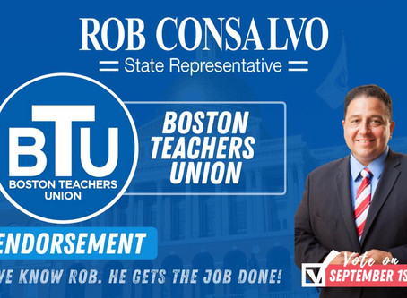 Boston Teachers Union Endorses Rob Consalvo for State Representative