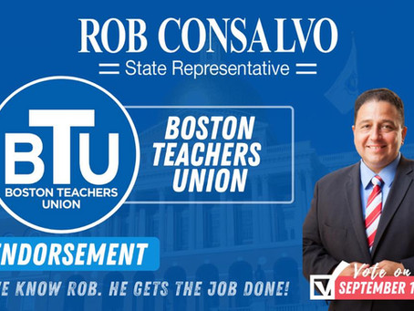 Boston Teachers Union Endorses Rob Consalvo for State Representative