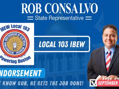 Local 103 IBEW Endorses Rob Consalvo for State Representative