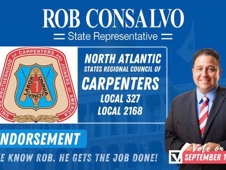 North Atlantic States Regional Council of Carpenters Local 327 and Local 2168 Endorse Rob Consalvo