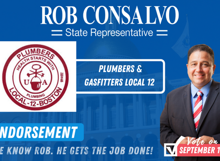 Plumbers and Gasfitters Local 12 Endorses Rob Consalvo
