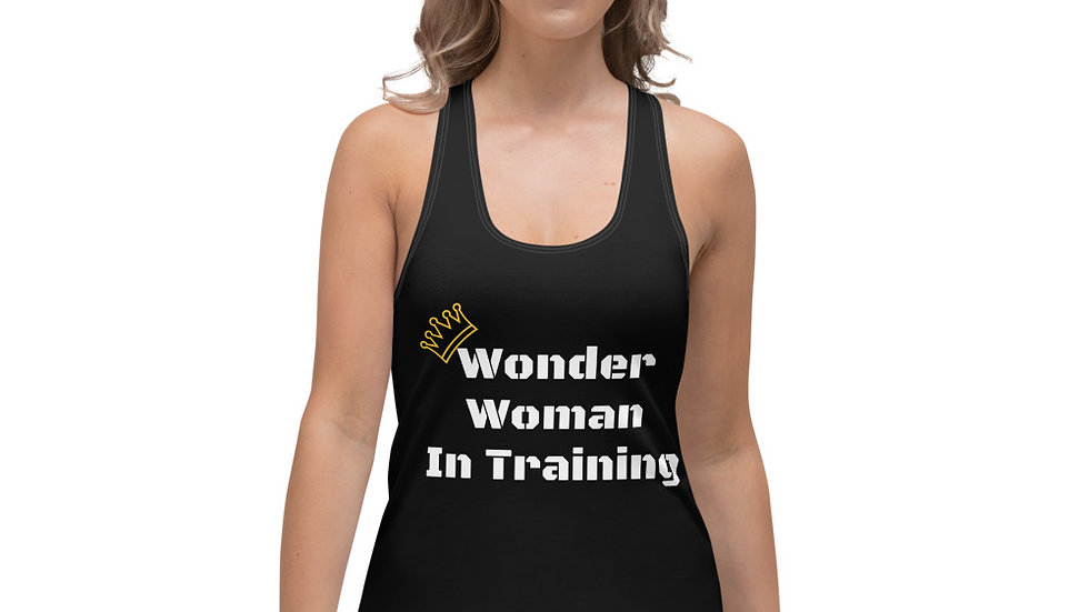 Wonder Woman in Training Sparkles and Strength Women's Racerback Tank