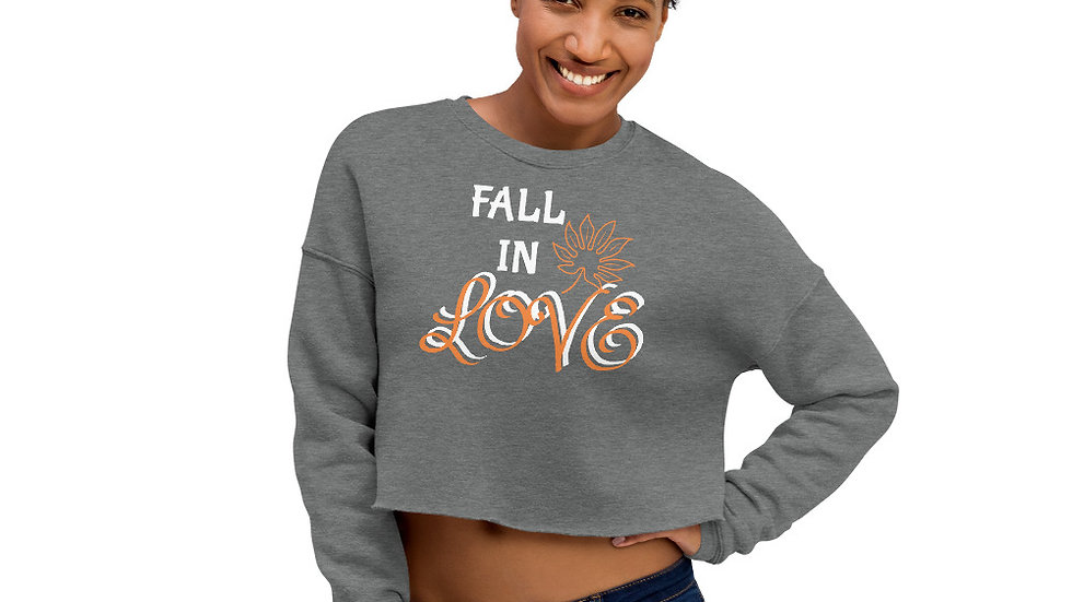 FALL IN LOVE Sparkles and Strength Crop Sweatshirt