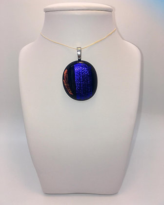 Cobalt Blue with Red Accent Glass Pendant