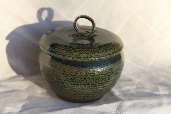 Blue-Green Bowl with Purple Glaze Inside