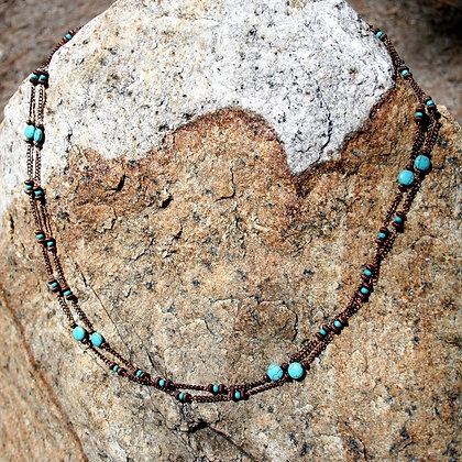 Extra Long Turquoise Copper Necklace