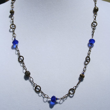 Bronze Necklace with Blue Crystals