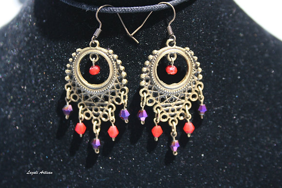 Ornate Bronze with Purple & Red Dangles
