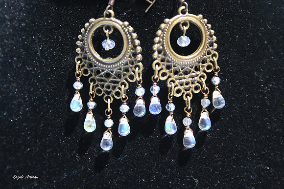 Ornate Bronze with Clear Crystal Dangles