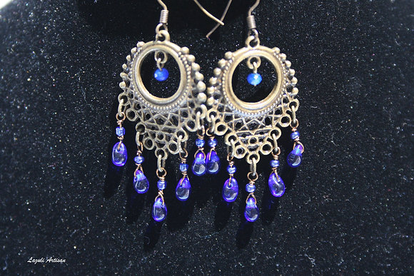 Ornate Bronze with Blue Dangles