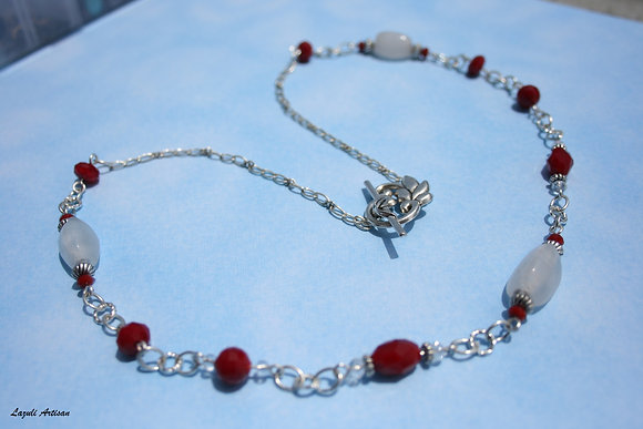 Pink & Red Crystal Necklace