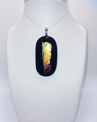 Iridescent Gold on Black Glass Pendant