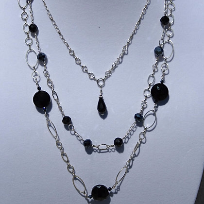 Three Layer Necklace with Black Crystals