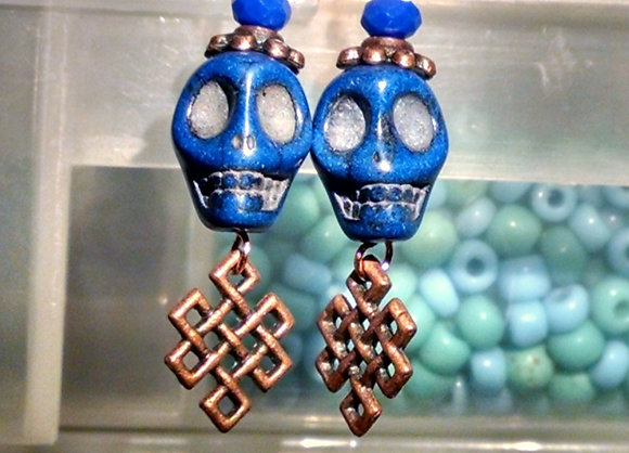 Blue Skull with Bronze Dangle