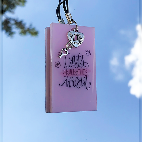 resin charm   cat quote tag