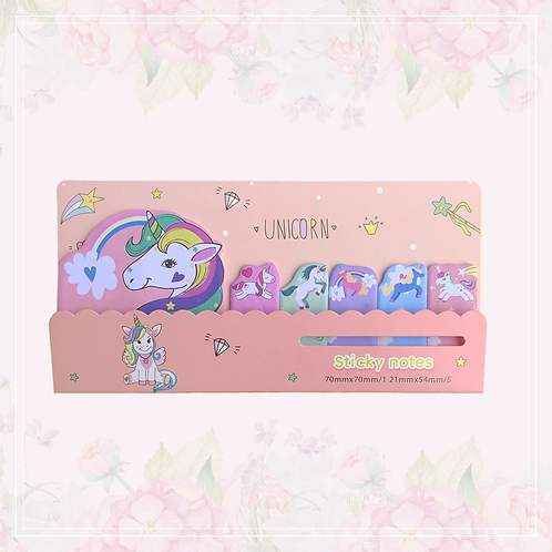 unicorn sticky note set   peach