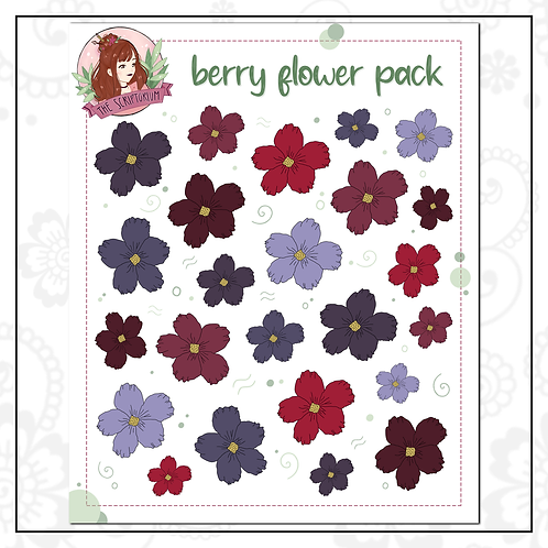 flower sticker pack   berry